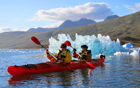 Greenland travel, kayak optional excursion