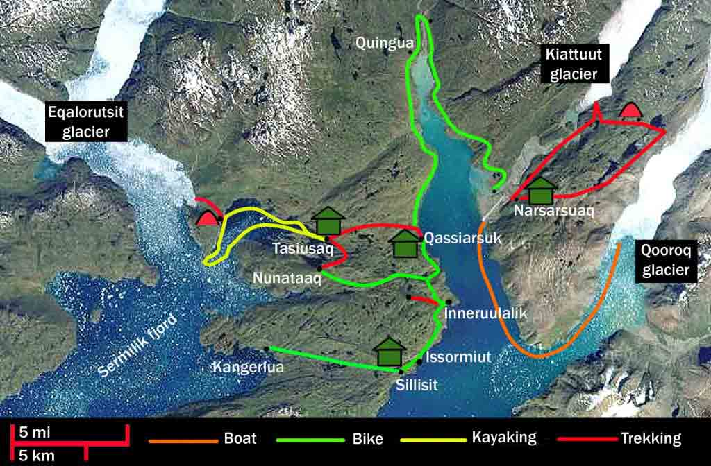 mountain bike, kayak and hiking in greenland, route map