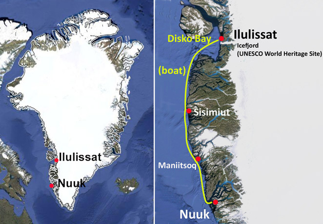 Arctic cruise from Ilulissat to Nuuk in the west coast of Greenland