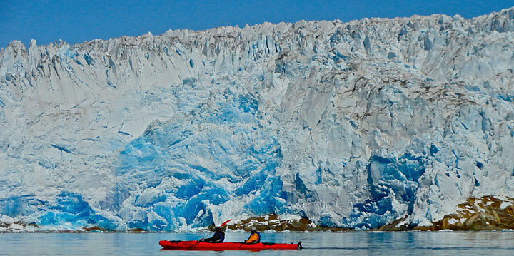 kayaking trips in greenland glacier front