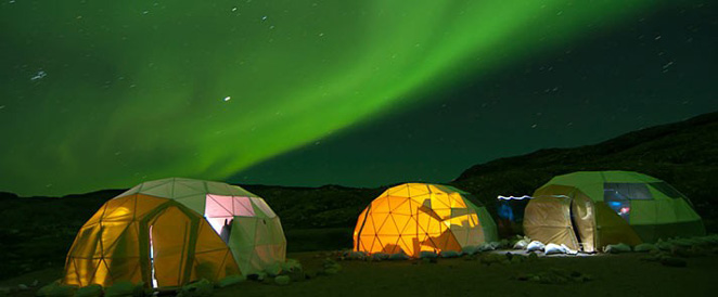 The northern lights over the Qaleraliq glacier camp, southern Greenland