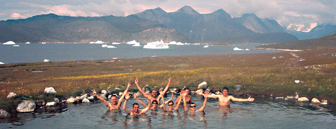 Best of South Greenland trip, Uunartoq island hot springs relaxing bath in front of the icebergs