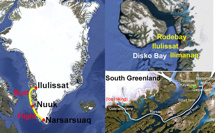 From South Greenland to Nuuk and Ilulissat, route map