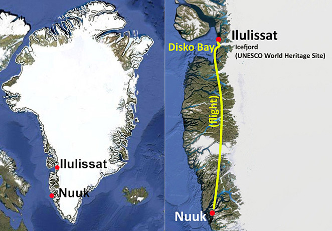 Travel to Greenland route map