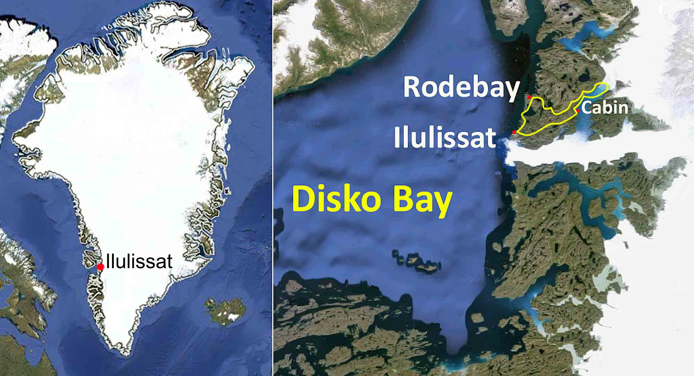 visit greenland in winter, Ilulissat dog sledding route map